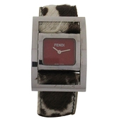 FENDI 紅色面盤皮革錶帶石英腕錶 5010L【二手名牌 BRAND OFF】
