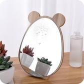 木質化妝鏡 卡通熊貓臉木質化妝鏡子高清單面梳妝美容鏡學生宿舍桌面鏡大小號