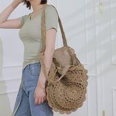 新款韓版草編包可折疊編織包草包沙灘包側背包海邊旅游度假女包包