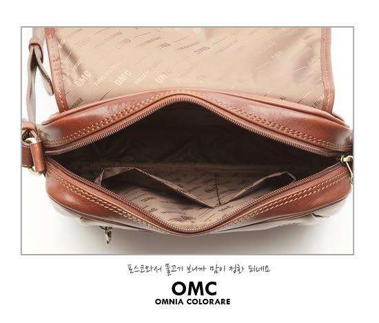 OMC - 原皮魅力款真皮學院系翻蓋式側背包