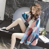 夏季新品韓版中長款格子防曬衣襯衫女寬鬆百搭bf長袖薄外套潮 - 風尚3C