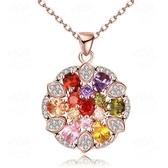 項鍊 玫瑰金純銀 水晶吊墜-繽紛鑲鑽生日情人節禮物女飾品73br2【時尚巴黎】
