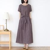2021原創圓領短袖仿棉麻夏裙子新款女長款復古寬鬆長裙純色文藝 快速出貨