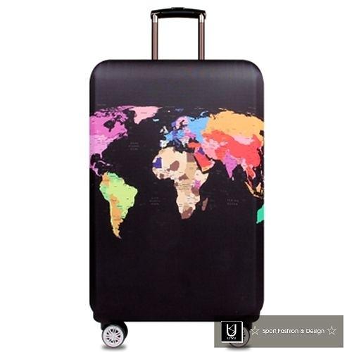 【US.STYLE】彩色地圖30吋旅行箱防塵防摔保護套