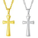 《QBOX 》FASHION 飾品【C21N2002】精緻個性歐美宗教情侶十字架鑄造鈦鋼墬子項鍊