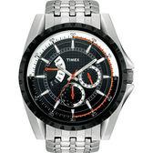 TIMEX 珍藏逆跳式三眼腕錶(黑)