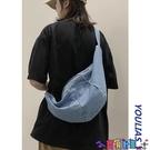 牛仔包 包包女斜背包純色牛仔包帆布包大容量簡約小眾文藝側背挎包餃子包寶貝計畫 上新