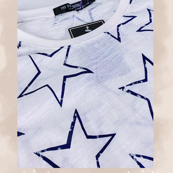 【INI】週慶限定、滿版印花星星上衣.深藍色