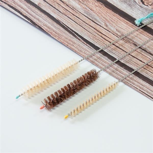 天然吸管刷(細羊毛x1+粗羊毛x1+粗馬毛x1)Natural Straw Cleaner【DUBBE】