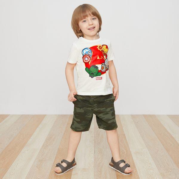 Gap男嬰幼童 印花鬆緊腰彈力針織短褲 419137-綠色迷彩