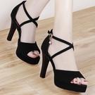 魚口鞋 涼鞋女仙女風2021新款時裝百搭防水臺魚嘴高跟鞋女士細跟夏季女鞋
