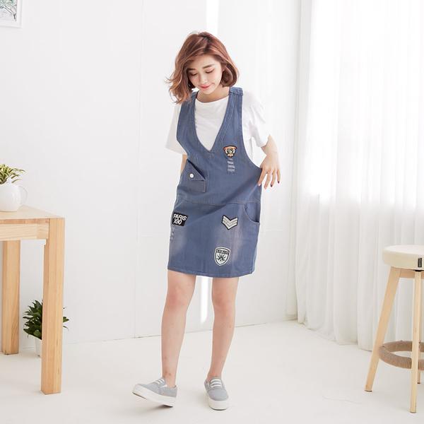貼布口袋單寧吊帶裙 [深藍 淺藍] 兩色 11640003
