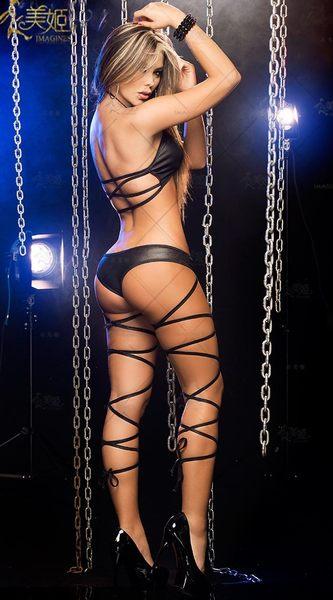 衣美姬♥歐美火辣 情趣兩件式 綁帶性感套裝 酒店辣妹 鋼管舞者必備 舞衣