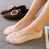 5雙夏季薄款蕾絲船襪隱形襪淺口低幫硅膠防滑襪套底女襪子【快速出貨八折優惠】