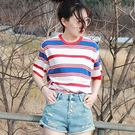 ZUCAS - 韓版經典百搭寬鬆配色條紋卷邊短袖T恤女(T-488)均碼