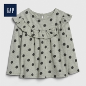 Gap男女嬰兒荷叶边饰波点圆领上衣494291-亮麻灰色