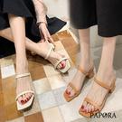 PAPORA方頭大方高跟涼鞋粗跟拖鞋K629