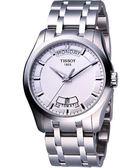 TISSOT 天梭 Couturier 建構師系列大三針機械手錶-銀白 T0354071103100