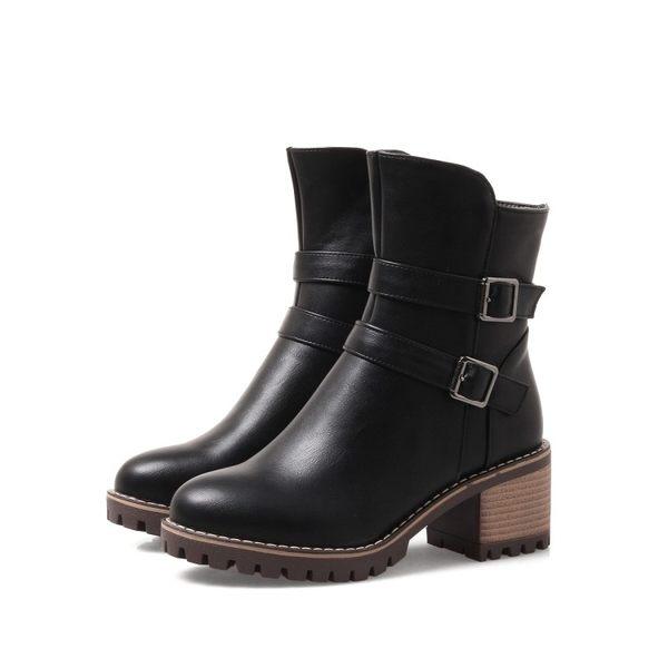 Dingle丁果大尺碼ღ雙扣帶環馬丁靴中跟短靴*3色