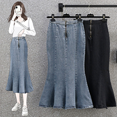 大碼牛仔半身裙~S-5XL200斤魚尾開叉半身裙大碼女裝胖mm荷葉邊魚尾裙.R028衣時尚
