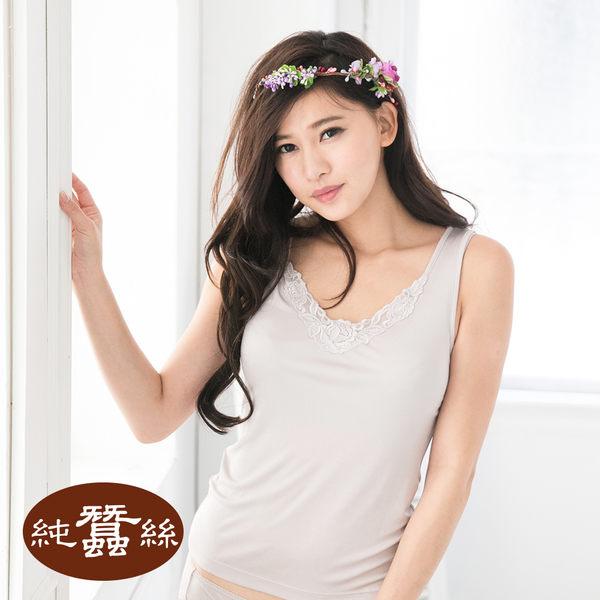 【岱妮蠶絲】AC1049N純蠶絲42針110G刺繡花片背心(銀灰)