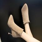 短靴女裸靴女秋季新款馬丁靴踝靴細跟百搭高...