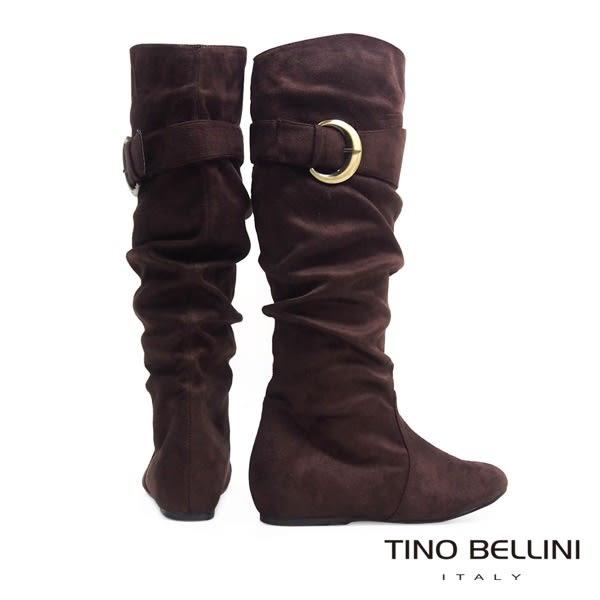 ★零碼出清★Tino Bellini 金屬側釦自然抓皺內增高長筒靴(咖)_CL2224 2015AW 網路限定價
