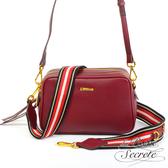La Poche Secrete側背包 簡約真皮雙拉鍊織帶2WAY側斜背方包-酒紅色5012