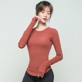 瑜伽服 健身上衣女緊身性感瑜伽服打底外穿秋冬跑步長袖速幹罩衫運動T恤