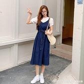 短袖裙裝 夏裝2021年新款春大碼女裝胖mm背帶洋裝子夏季兩件套裝微胖穿搭 開春特惠