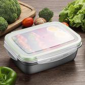 交換禮物-長方形304不銹鋼飯盒便當盒學生帶蓋正韓食堂簡約水果冰箱保鮮盒