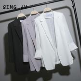 西裝外套 中長款寬鬆雪紡小西裝女chic夏季白色西服大碼防曬衣薄外套空調衫 雙12