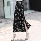 印花雪紡半身裙女2020夏季新款高腰a字裙開叉一步裙長裙包臀裙 快速出貨