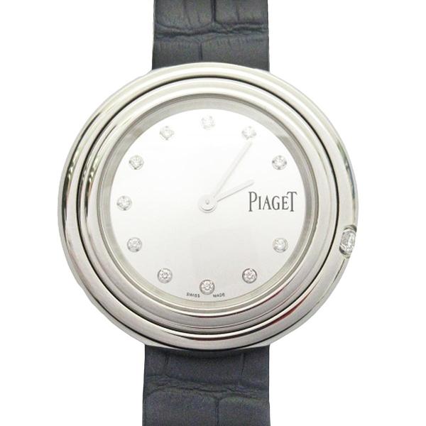 PIAGET 伯爵 鑲12顆鑽銀色精鋼石英機芯深藍色鱷魚皮腕錶 POSSESSION G0A43090 P11547