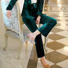 亮麗金絲絨金屬釦直筒長褲 [9X300-PF]美之札