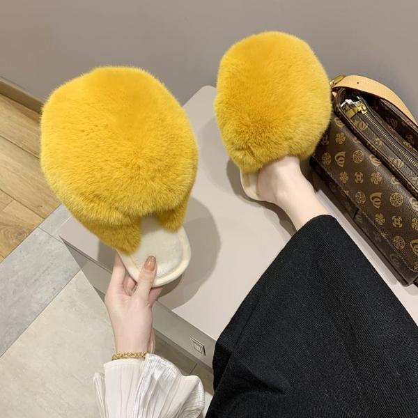 大毛毛個性時髦毛絨絨拖鞋室內秋冬女家居鞋毛毛鞋包頭外穿毛拖鞋 後街五號