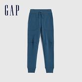 Gap男童 基本款純色鬆緊休閒針織褲 619547-暗海藍