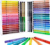24色48色36色可水洗無毒繪畫筆軟頭初學者手繪大容量寶寶印章12色盒裝雙頭WD 初語生活館