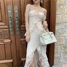 超仙蕾絲鑽珍珠鏈連身裙 花邊名媛氣質吊帶裙 荷葉優雅禮服裙晚禮服