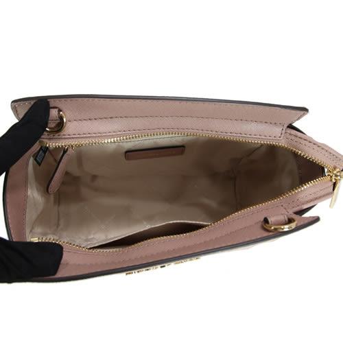 Michael Kors Selma 防刮滿版LOGO金字小型斜背包(芭蕾粉)