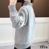 【YPRA】毛衣 高領 女生毛衣 套頭 寬鬆 外穿 百搭 加厚 打底衫