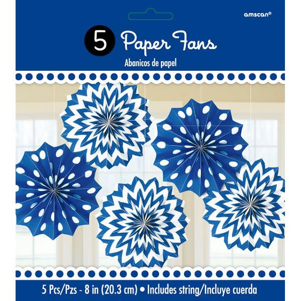 幾何扇形吊飾5入-寶石藍