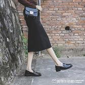 牛津鞋女鞋早春新款韓版百搭英倫風樂福單鞋粗跟圓頭黑色平底小皮鞋美物生活館