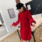 VK精品服飾 韓系雙肩木耳邊復古燈籠袖毛衣針織長袖洋裝