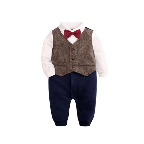 復古西裝造型領結連身長袖包屁衣 連身衣 新生兒 嬰兒 小童 寶寶 攝影 喜酒 花童 橘魔法 現貨