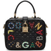 ★專櫃52折! Dolce&Gabbana 小巧 Dolce Soft 菱格紋小牛皮迷你手提包 黑色