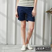 【JEEP】女裝 夏日風情印花休閒短褲-深藍色