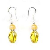 黃水晶轉珠與黃玉珠純銀耳環