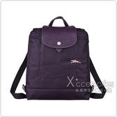LONGCHAMP COLLECTION刺繡LOGO尼龍摺疊拉鍊後背包(藍莓紫x粉)