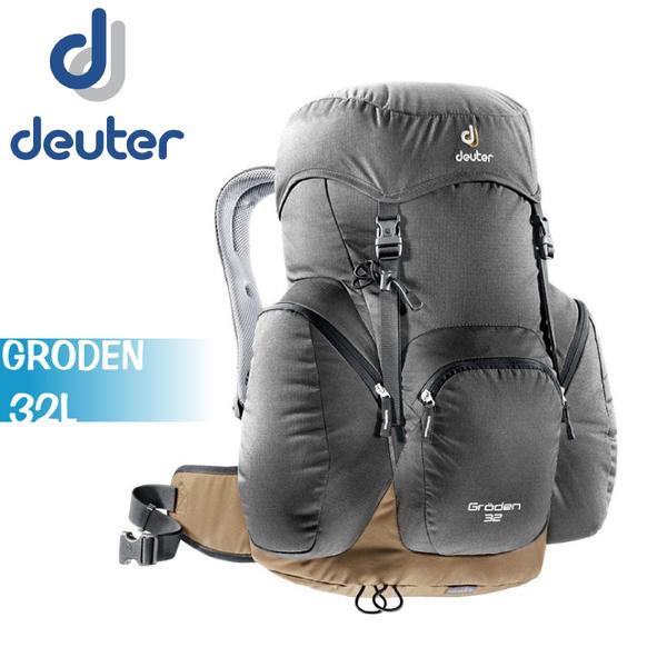 【Deuter 德國 GRODEN 32L 網架直立式透氣背包《灰/咖啡》】3430316/登山背包/後背包/雙肩背包/自助旅行